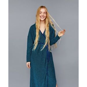 NWT Zara Metallic Crossover Wrap Maxi Dress